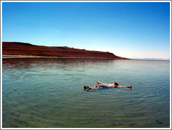 Antelope Island beach.  The salinity of the water makes it possible for anyone to float.