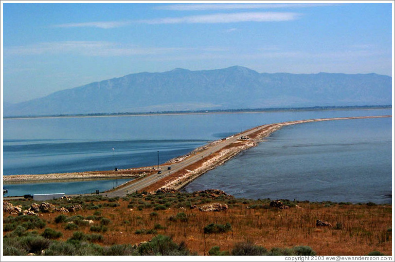 Bridge leading from Antelope Island to the mainland.