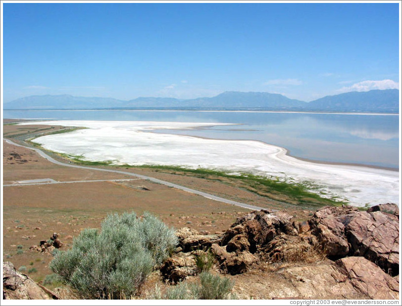 Terrain and salty shore of Antelope Island.