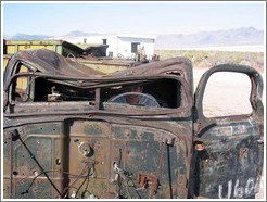 Jesse at helm of old car near Spiral Jetty.