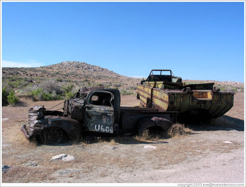 Old car and duckboat near the Spiral Jetty.