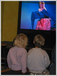 Kids watching a dinosaur video at the Pacific Science Center.