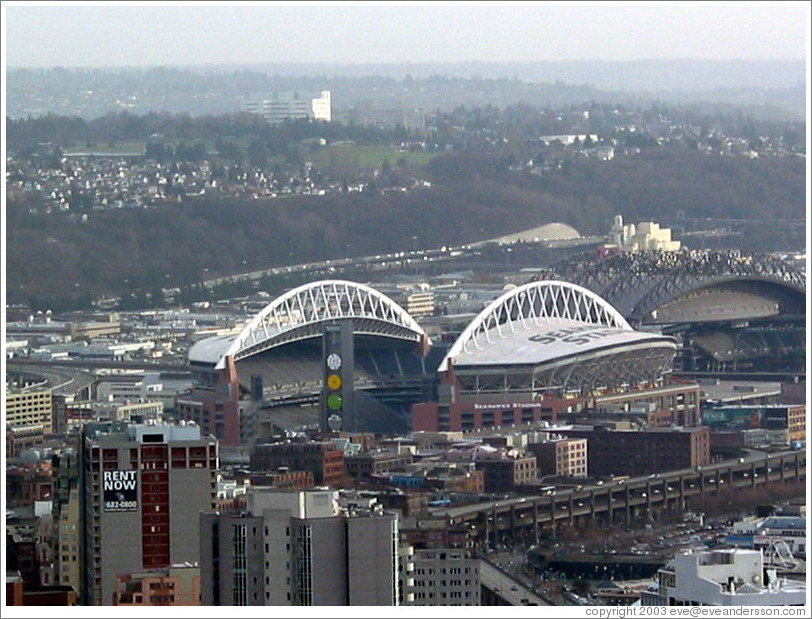 The Seahawks stadium, as viewed from the Space Needle.