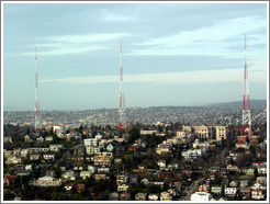 The 3 radio towers of Queen Anne, as viewed from the Space Needle.