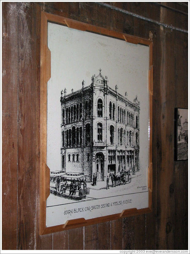 Seattle Underground Tour.  Picture of late 19th century building.  Building still stands.  The floor that was formerly the ground floor is now the basement.