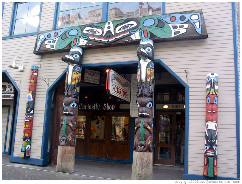 Front of Ye Old Curiosity Shop.  The totem poles kind of look like a big Pi symbol.